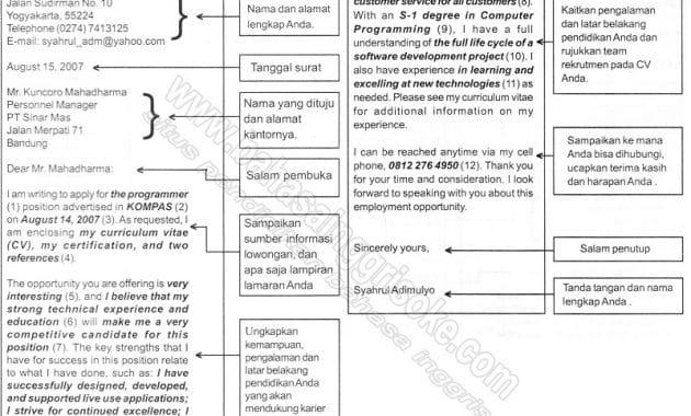 Contoh Surat Lamaran Pekerjaan Dalam Bahasa Inggris