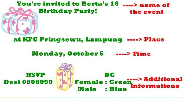 Invitation Card Atau Kartu Undangan Bukuinggris Co Id