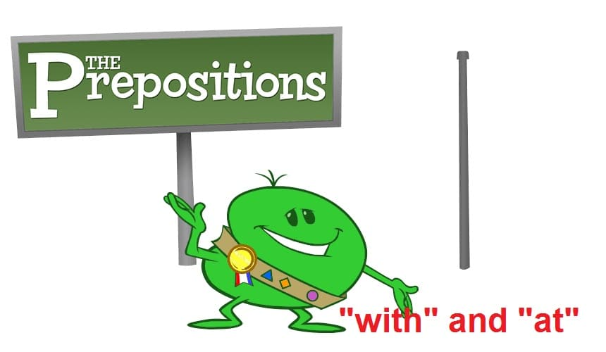 preposition with and at